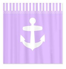 lilac purple nautical shower curtain
