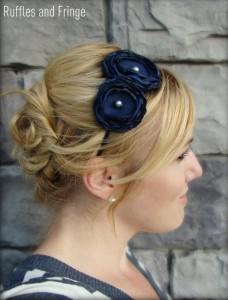 Elegant navy blue flower headband