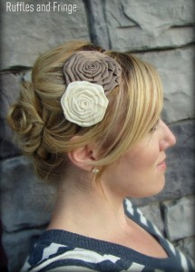 Handmade white and beige flower headband - vintage elegance