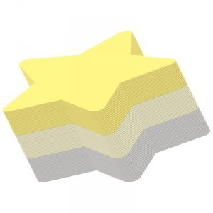 Yellow Star shaped post its or sticky notes