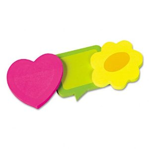 Assorted shaped postits: pink heart, yellow flower and green speech bubble