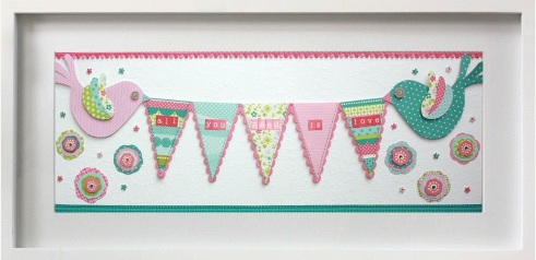 Pretty girly nursery girls bedroom art: Cute pastel bunting with sweet love birds and the saying - All you need is love
