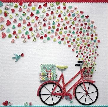 Nursery Wall Art: Colorful and Cute Bicycle with baskets overflowing full of love hearts