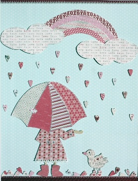 Girly girls room art: Cute Heart shaped raindrops on Pastel blue background with girl holding pink umbrella and rainbow