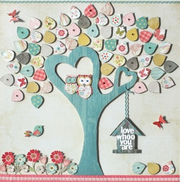 Adorable Nursery Art: Pastel blue and pink tree with heart shaped branches and cute owls surrounded by colorful flowers and butterflies
