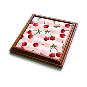 Cute cherry pattern pink trivet