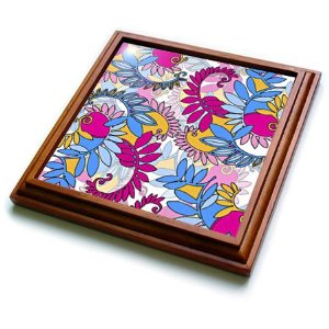 Pink and blue flower pattern trivet