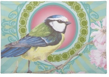 Stylish and Trendy Colorful Blue Tit Bird placemat
