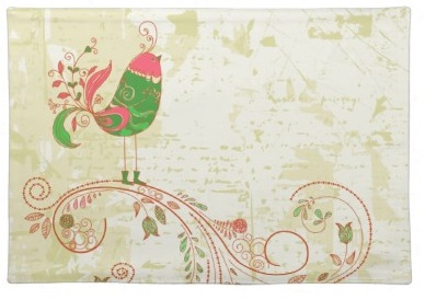 Cute Pink and Green Retro Grunge Floral swirls and contemporary Bird Placemats