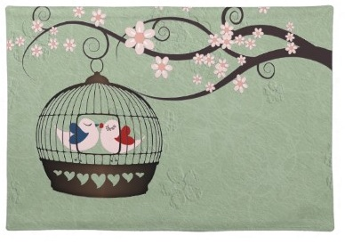 Romantic and cute love Birds in a cage green Placemat