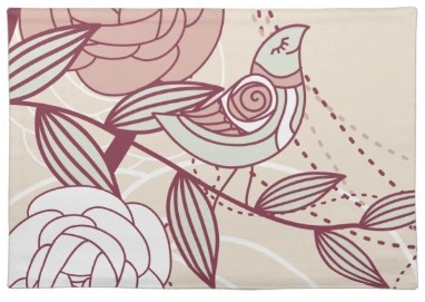 Elegant and Girly Flower and Pretty Little Bird Placemats