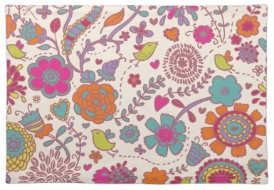 Funky Retro Cartoon Pretty Little Birds and Flowers Placemats