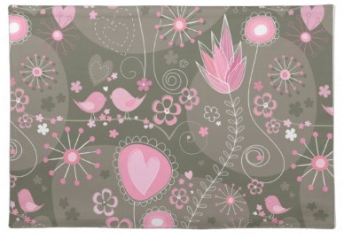 Whimsical Miro inspired Garden with birds flowers and hearts - Pink and black modern art bird Placemat