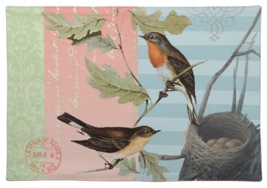 European Robin Pink Green and Blue Beautiful Bird placemats