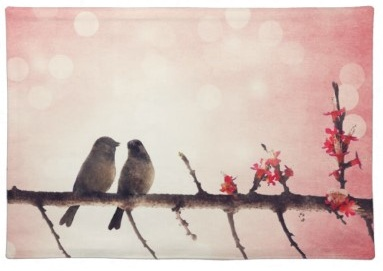 Pink bird silhouettes on a branch - Love birds placemats