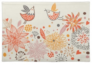 Flowers and Cute Pretty Retro Birds Placemat