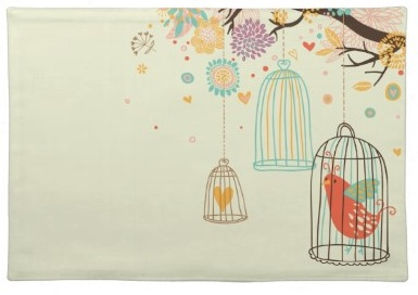 Retro cute Bird in Cage Tree and hearts green contemporary Placemat