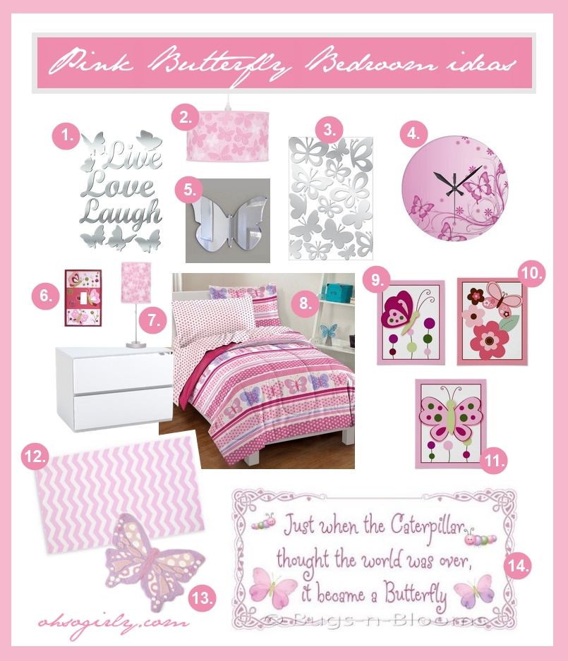 Pink butterfly bedroom decor ideas for a girls room