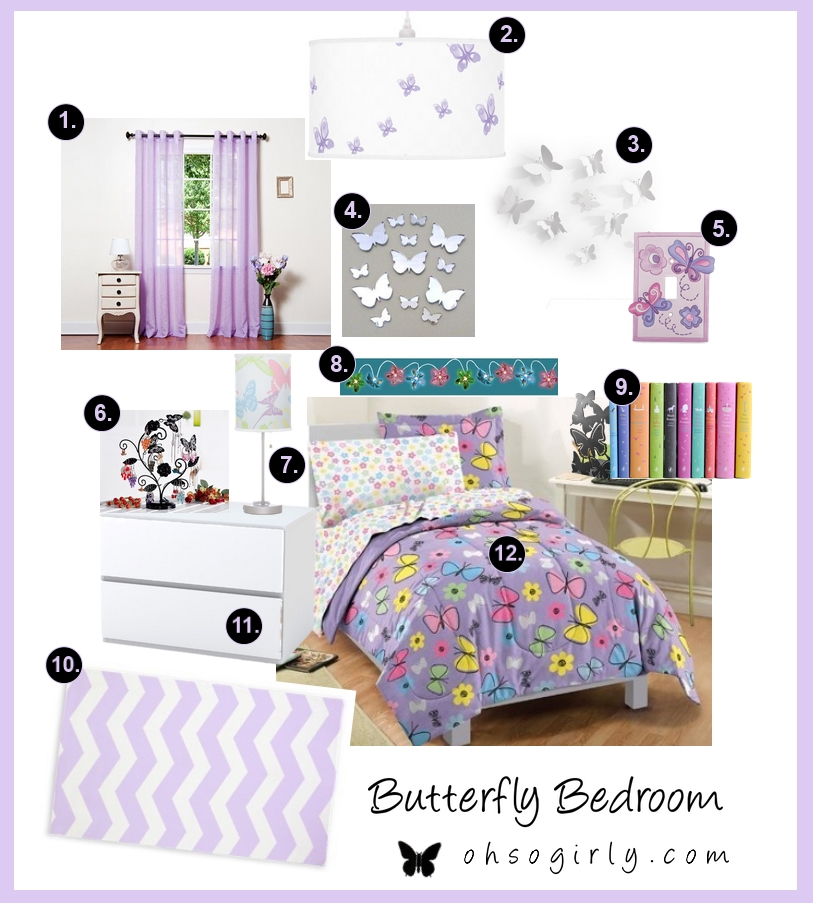 Purple butterfly themed bedroom decor idea with accessories