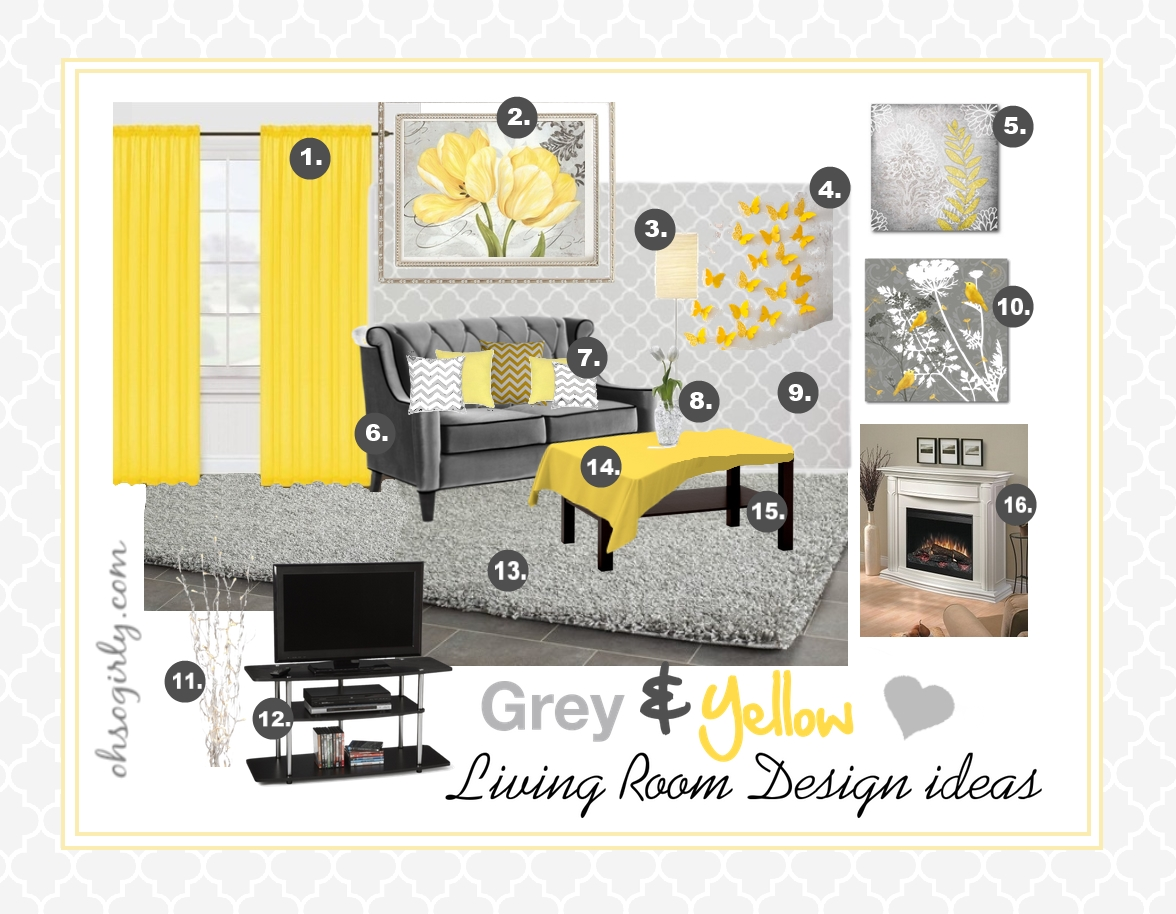 Yellow and grey living room design idea oh so girly for Interior design ideas yellow living room