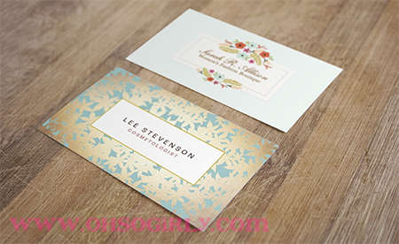 floral blue bc2 - Girly Business Cards