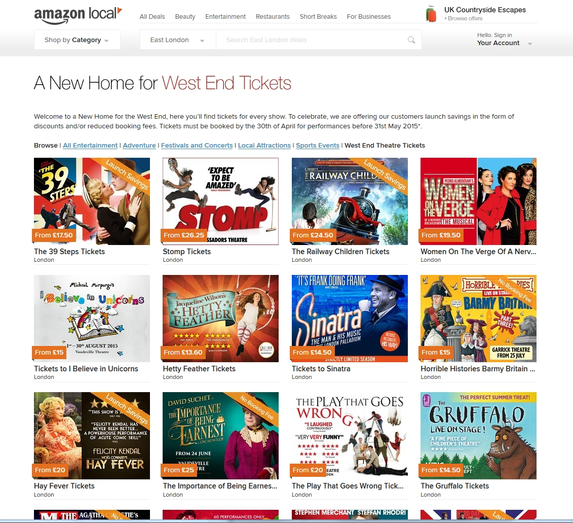 amazon local west end shows deals